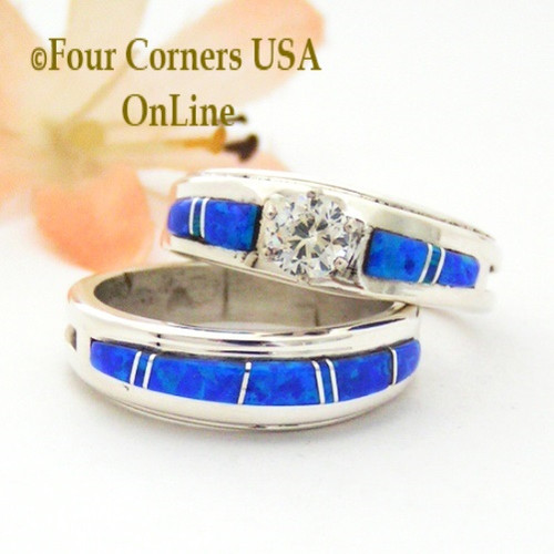 Size 8 1/2 Blue Fire Opal Engagement Bridal Wedding Ring Set Navajo Wilbert Muskett Jr WS-1641 Four Corners USA OnLine Native American Jewelry