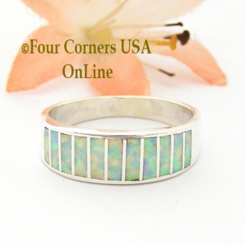 Size 9 White Fire Opal Inlay Ring Native American Ella Cowboy WB-1718 Four Corners USA OnLine Navajo Silver Jewelry