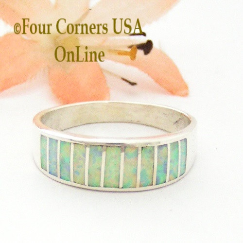 Size 10 White Fire Opal Inlay Ring Native American Ella Cowboy WB-1719 Four Corners USA OnLine Navajo Silver Jewelry