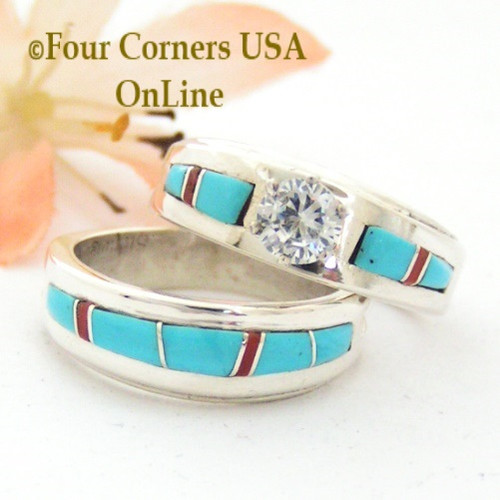 Size 6 1/2 Turquoise Red Coral Engagement Bridal Wedding Ring Set Native American Wilbert Muskett Jr WS-1644 Four Corners USA OnLine Native American Jewelry