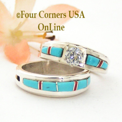 Size 7 1/2 Turquoise Red Coral Engagement Bridal Wedding Ring Set Native American Wilbert Muskett Jr WS-1646 Four Corners USA OnLine Native American Jewelry