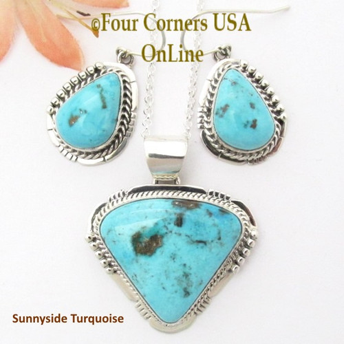 Sunnyside Turquoise Pendant Necklace Earring Set Navajo Artisan Sampson Jake On Sale Now NAN-1440 Four Corners USA OnLine Native American Silver Jewelry