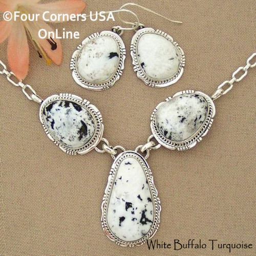 Sacred White Buffalo Turquoise Necklace Earring Jewelry Set Navajo Lucy Valencia NAN-1443 Four Corners USA OnLine Fine Fine Native American Jewelry