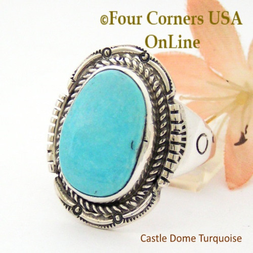 Size 13 Castle Dome Turquoise Stone Ring Navajo Artisan Edward Ganadonegro NAR-1869 Four Corners USA OnLine Native American Jewelry