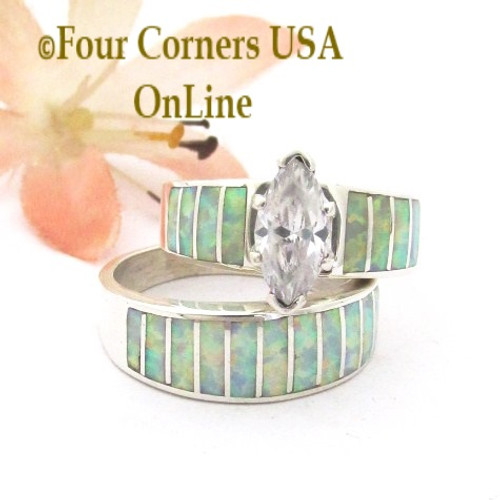 Size 7 White Fire Opal Wedding Engagement Ring Set Ella Cowboy WS-1650 Four Corners USA OnLine Native American Navajo Silver Jewelry