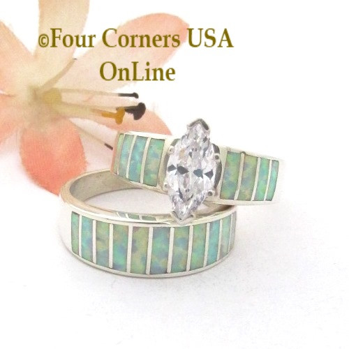 Size 7 1/2 White Fire Opal Wedding Engagement Ring Set Navajo Ella Cowboy WS-1651 Four Corners USA OnLine Native American Silver Jewelry