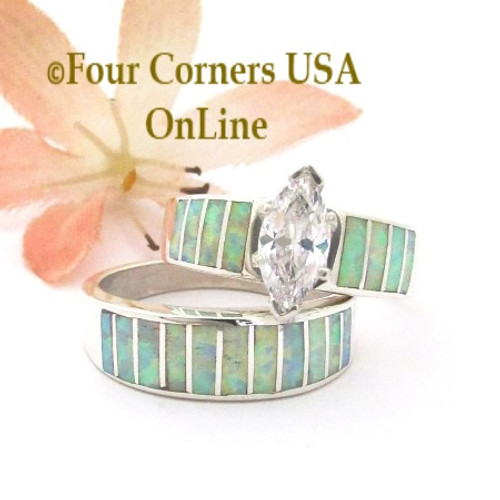 Size 8 1/2 White Fire Opal Wedding Engagement Ring Set Ella Cowboy WS-1653 Four Corners USA OnLine Native American Navajo Silver Jewelry