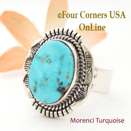 Size 12 Morenci Turquoise Ring Navajo Artisan John Nelson NAR-1871 Four Corners USA OnLine Native American Jewelry
