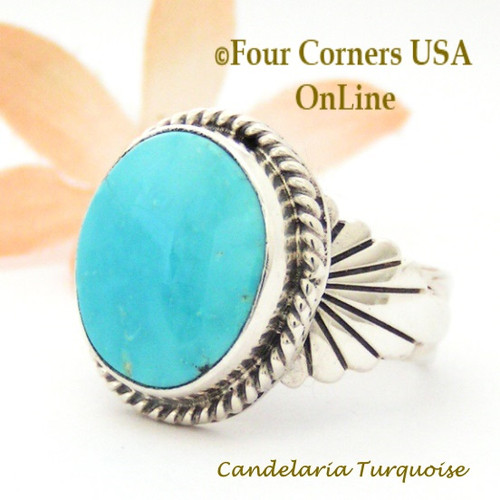Size 10 Candelaria Turquoise Silver Ring Navajo Artisan Wilson Padilla NAR-1872 Four Corners USA OnLine Native American Jewelry