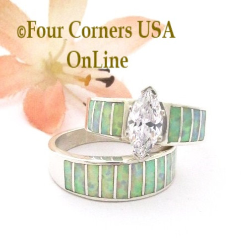 Size 7 White Fire Opal Wedding Engagement Ring Set Ella Cowboy WS-1655 Four Corners USA OnLine Native American Navajo Silver Jewelry