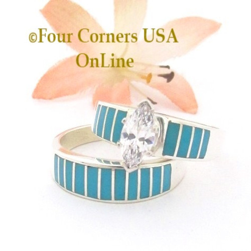 Size 10 1/2 Turquoise Inlay Wedding Engagement Ring Set Ella Cowboy WS-1660 Four Corners USA OnLine Native American Jewelry
