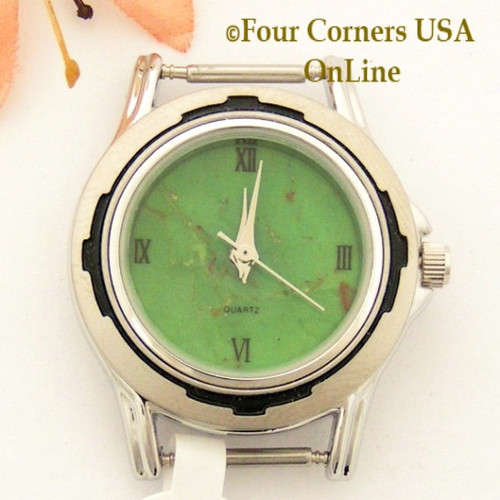 18W - Women's Mohave Green Kingman Turquoise Stone Watch Face 12mm pin NAWF-MG-18W Four Corners USA OnLine Native American Jewelry