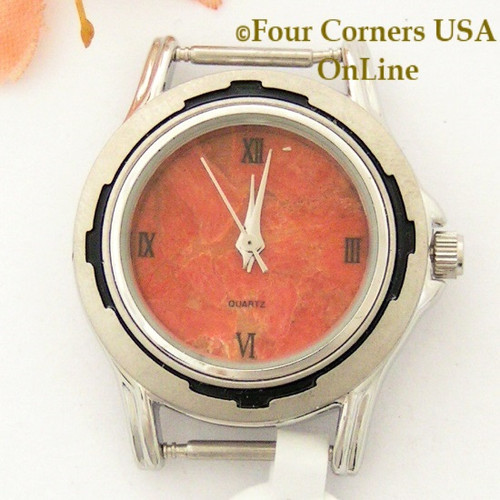 5W - Women's Natural Apple Coral Watch Face 12mm pin NAWF-AC-25W Four Corners USA OnLine Native American Jewelry