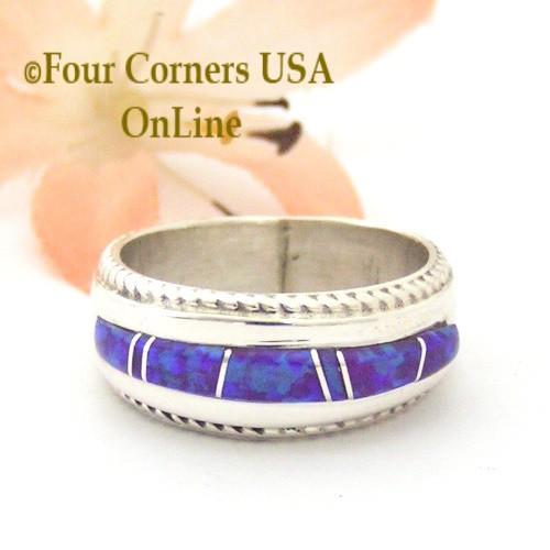Size 6 1/4 Purple Fire Opal Inlay Band Ring Navajo Artisan Wilbert Muskett Jr WB-1733  Four Corners USA OnLine Native American Jewelry