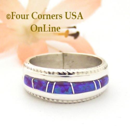 Size 6 1/2 Purple Fire Opal Inlay Band Ring Navajo Artisan Wilbert Muskett Jr WB-1734  Four Corners USA OnLine Native American Jewelry