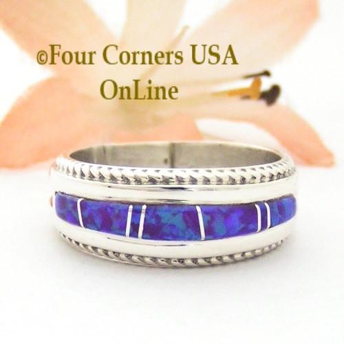 Size 7 1/2 Purple Fire Opal Inlay Band Ring Navajo Artisan Wilbert Muskett Jr WB-1736 Four Corners USA OnLine Native American Jewelry