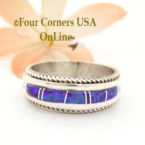 Size 8 1/2 Purple Fire Opal Inlay Band Ring Navajo Artisan Wilbert Muskett Jr WB-1738 Four Corners USA OnLine Native American Jewelry