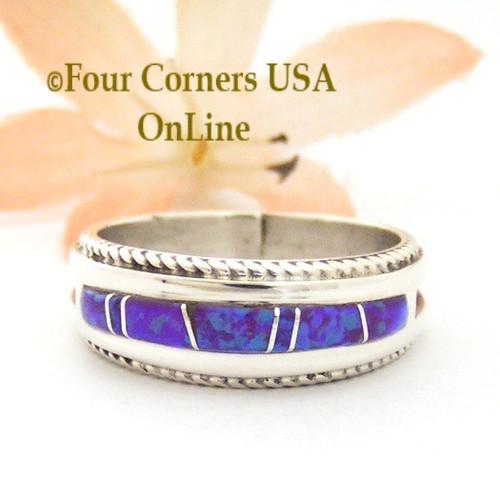 Size 9 Purple Fire Opal Inlay Band Ring Navajo Artisan Wilbert Muskett Jr WB-1739 Four Corners USA OnLine Native American Jewelry
