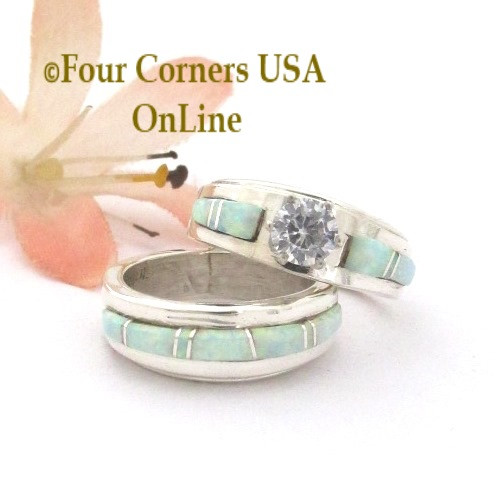 Size 4 1/2 White Fire Opal Engagement Bridal Wedding Ring Set Navajo Wilbert Muskett Jr WS-1661 Four Corners USA OnLine Native American Silver Jewelry