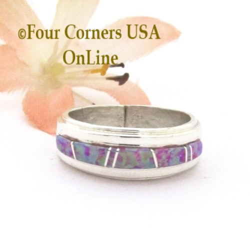 Size 6 Pink Fire Opal Inlay Ring Navajo Wilbert Muskett Jr WB-1741 Four Corners USA OnLine Native American Silver Jewelry
