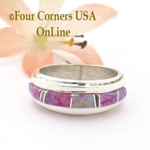 Size 6 Pink Fire Opal Inlay Ring Navajo Wilbert Muskett Jr WB-1742 Four Corners USA OnLine Native American Silver Jewelry