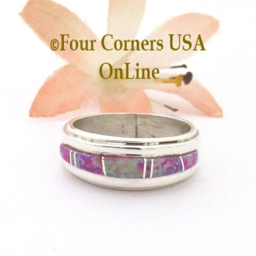 Size 6 1/2 Pink Fire Opal Inlay Ring Navajo Wilbert Muskett Jr WB-1743 Four Corners USA OnLine Native American Silver Jewelry