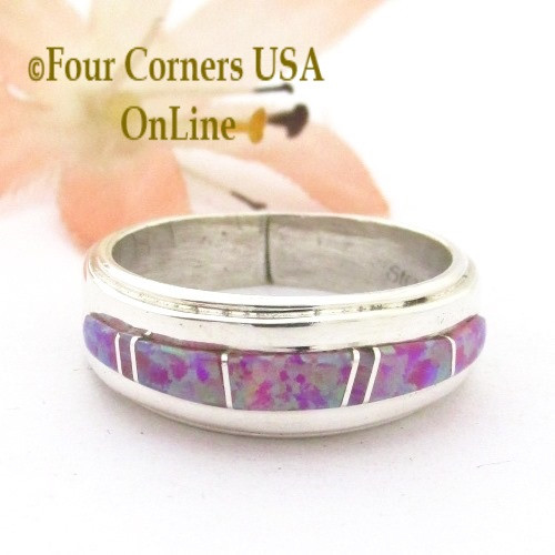 Size 7 Pink Fire Opal Inlay Ring Navajo Wilbert Muskett Jr WB-1744 Four Corners USA OnLine Native American Silver Jewelry