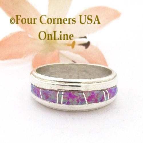 Size 7 Pink Fire Opal Inlay Ring Navajo Wilbert Muskett Jr WB-1745 Four Corners USA OnLine Native American Silver Jewelry