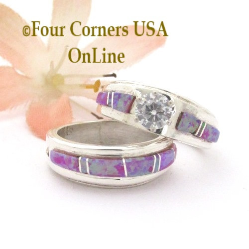 Size 4 1/2 Pink Fire Opal Engagement Bridal Wedding Ring Set Navajo Wilbert Muskett Jr WS-1667 Four Corners USA OnLine Native American Silver Jewelry