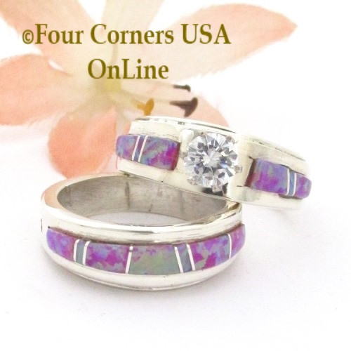 Size 5 1/2 Pink Fire Opal Engagement Bridal Wedding Ring Set Navajo Wilbert Muskett Jr WS-1669 Four Corners USA OnLine Native American Jewelry