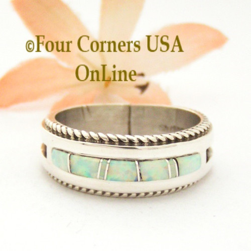 Size 11 1/2 White Fire Opal Inlay Rope Band Ring Navajo Wilbert Muskett Jr WB-1749 Four Corners USA OnLine Native American Silver Jewelry