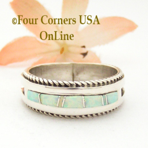 Size 12 1/2 White Fire Opal Inlay Rope Band Ring Navajo Wilbert Muskett Jr WB-1751 Four Corners USA OnLine Native American Silver Jewelry