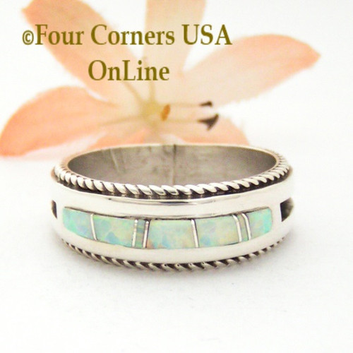 Size 13 White Fire Opal Inlay Rope Band Ring Navajo Wilbert Muskett Jr WB-1752 Four Corners USA OnLine Native American Silver Jewelry