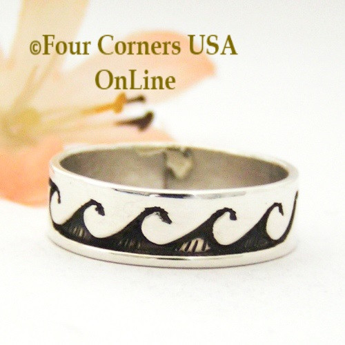 Size 9 Sterling Silver Wave Water Symbol Ring Native American Peggy Skeets NAR-1874 Four Corners USA Online Navajo Silver Jewelry