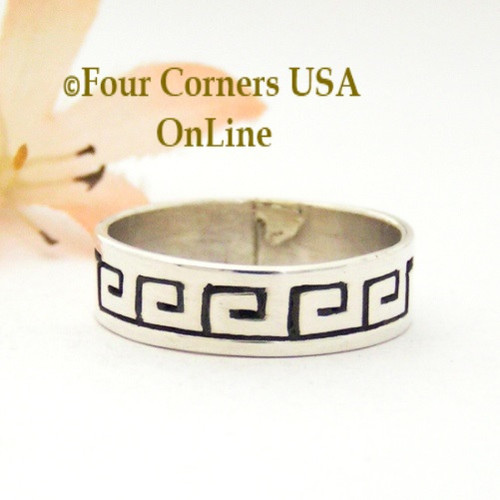 Size 10 1/2 Sterling Silver Spirals Ring Native American Navajo Peggy Skeets NAR-1877 Four Corners USA OnLine Navajo Silver Jewelry