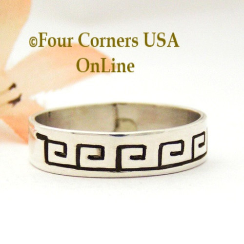 Size 12 1/2 Sterling Silver Spirals Ring Native American Navajo Peggy Skeets NAR-1878 Four Corners USA OnLine Navajo Silver Jewelry