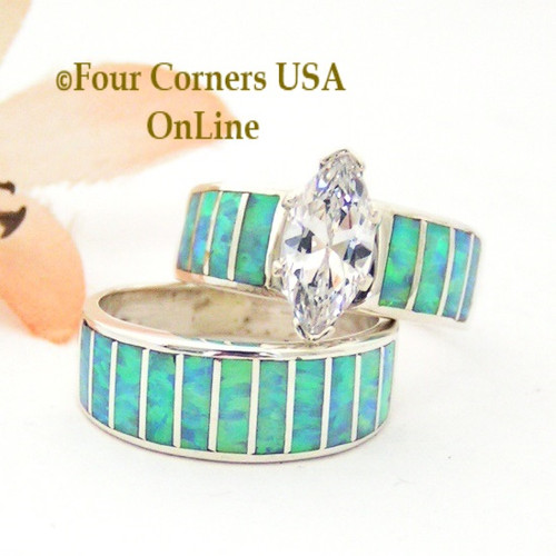 Size 5 1/2 Light Blue Fire Opal Wedding Engagement Ring Set Ella Cowboy WS-1672 Four Corners USA OnLine Native American Jewelry
