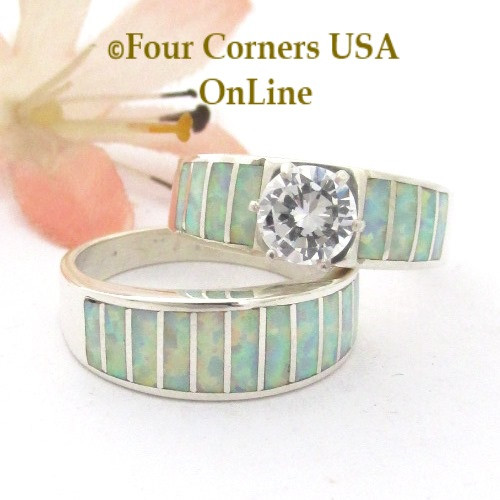 Size 7 White Fire Opal Wedding Engagement Ring Set Navajo Ella Cowboy WS-1673 Four Corners USA OnLine Native American Silver Jewelry