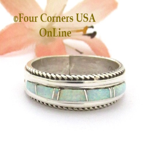 Size 8 1/2 White Fire Opal Inlay Rope Band Ring Navajo Wilbert Muskett Jr WB-1754 Four Corners USA OnLine Native American Jewelry