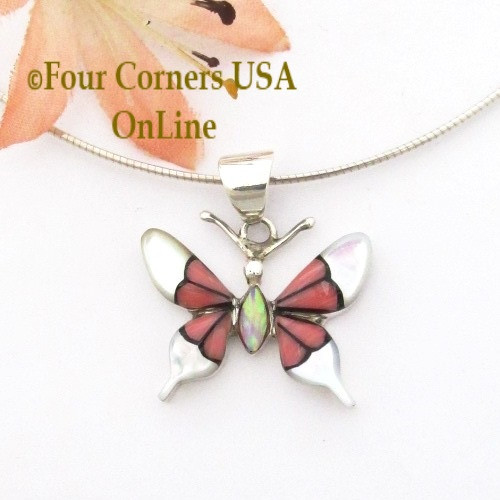 On Sale Now Inlay Pink Coral White Shell Butterfly Pendant 16 Inch Necklace Native American Jewelry at Four Corners USA OnLine NAP-1672