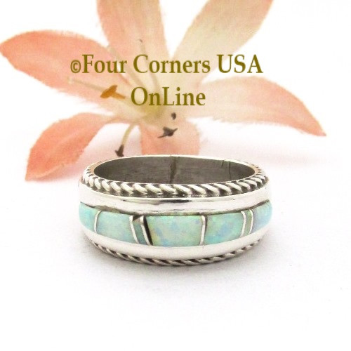 Size 5 Womens White Fire Opal Inlay Rope Band Ring Navajo Wilbert Muskett Jr WB-1757 Four Corners USA OnLine Native American Jewelry