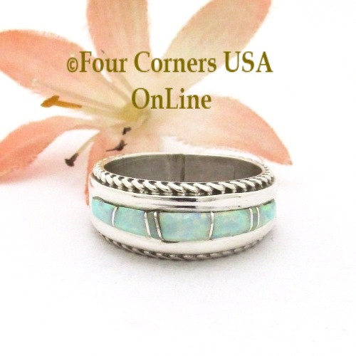 Size 5 1/2 Womens White Fire Opal Inlay Rope Band Ring Navajo Wilbert Muskett Jr WB-1758 Four Corners USA OnLine Native American Jewelry