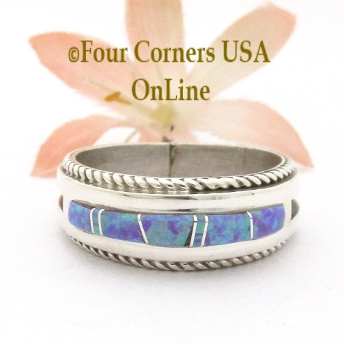 Size 12 1/2 Fiery Purple Fire Opal Inlay Rope Band Ring Navajo Wilbert Muskett Jr WB-1772 Four Corners USA OnLine Native American Jewelry