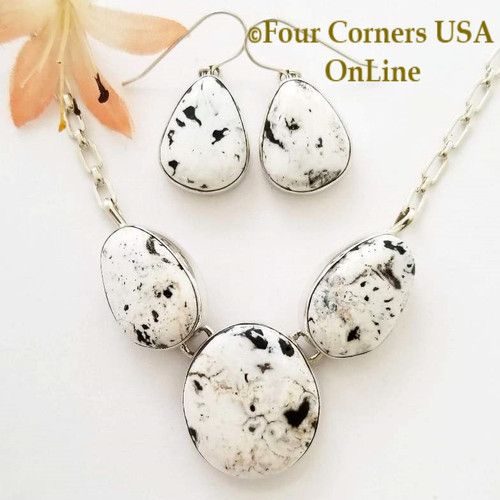 On Sale Now 3 Stone White Buffalo Turquoise Necklace Earring Jewelry Set Navajo Lyle Piaso On Sale at Four Corners USA OnLine Contemporary Native American Jewelry NAN-1441