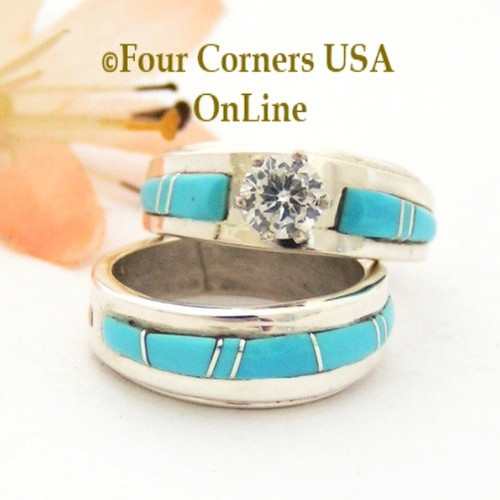 Size 4 1/2 Turquoise Engagement Bridal Wedding Ring Set Native American Wilbert Muskett Jr WS-1675 Four Corners USA OnLine Navajo Silver Jewelry