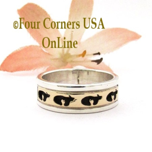 Size 6 14K Gold Sterling Bear Band Ring Navajo Peggy Skeets NAR-1879 Four Corners USA OnLine Native American Jewelry