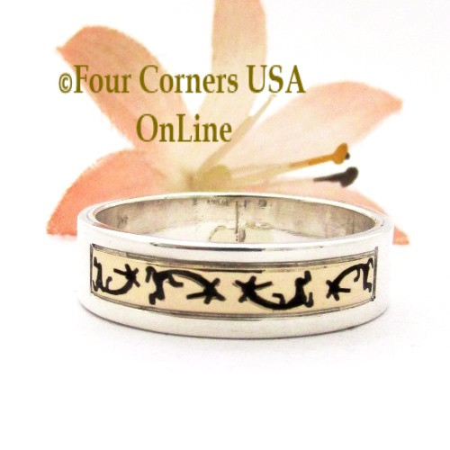 Size 11 3/4 14K Gold Sterling Kokopelli Band Ring Navajo Peggy Skeets NAR-1881 Four Corners USA OnLine Native American Jewelry
