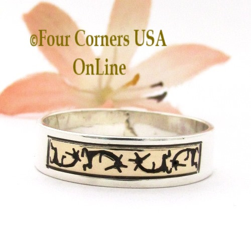 Size 11 3/4 14K Gold Sterling Kokopelli Band Ring Navajo Peggy Skeets NAR-1883 Four Corners USA OnLine Native American Jewelry