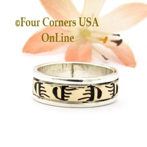 Size 6 1/2 14K Gold Sterling Bear Tracks Band Ring Navajo Peggy Skeets NAR-1886 Four Corners USA OnLine Native American Jewelry