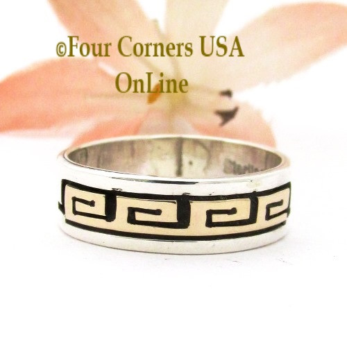 Size 6 14K Gold Sterling Spirals Band Ring Navajo David Skeets NAR-1887 Four Corners USA OnLine Native American Jewelry
